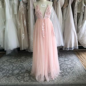 """Blush Lace and Tulle Deep """"V"""" Neckline Gown"""